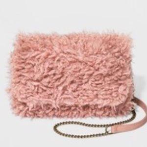 NWT Universal Thread Pink Sherpa Crossbody Purse